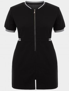 Zipper Contrast Stripe Plus Size Dress With Pockets - Black Xl