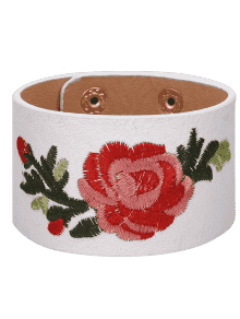Chinese Embroidery Faux Leather Flower Bracelet - White
