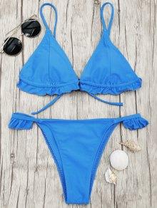 Frilled V String Tanga Bikini Set - Blue S