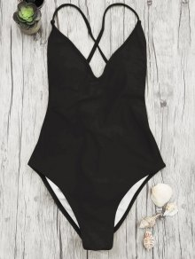 V Neck High Cut One Piece Swimsuit - Black L
