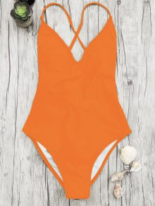 V Neck High Cut One Piece Swimsuit - Orange S