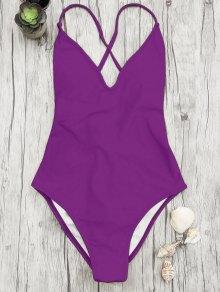 V Neck High Cut One Piece Swimsuit - Purple S