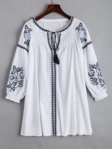 Embroidered Smocked Panel Mini Dress - White S