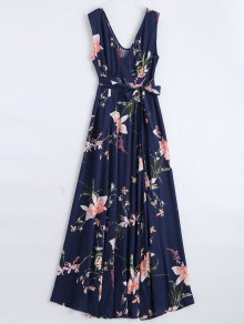 Self Tie High Slit Floral Maxi Surplice Dress - Purplish Blue M