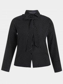 Bowknot Polka Dot Plus Size Shirt - Black 3xl