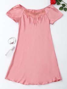 Short Sleeve Satin Lounge Sleep Dress - Pink M