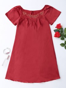 Short Sleeve Satin Lounge Sleep Dress - Red M