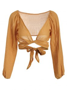 Self Tie Plunging Neck Crop Blouse - Earthy Xl
