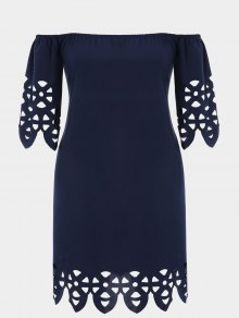 Off Shoulder Laser Cut Trapeze Dress - Purplish Blue 2xl