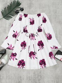 Floral Print Long Sleeve Dress - Plum S