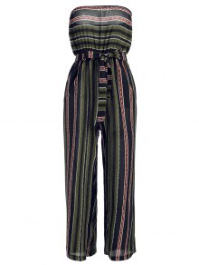 Strapless Belted Striped Jumpsuit - Purplish Blue