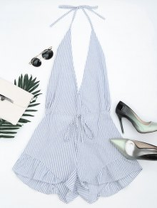 Halter Open Back Ruffled Striped Romper - Blue Stripe S
