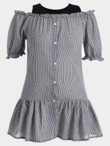 Ruffled Cold Shoulder Checked Dress - Plaid 3xl