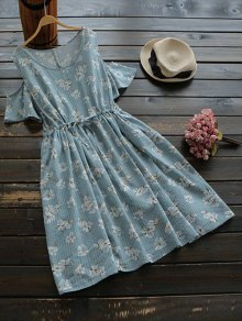 Drawstring Cold Shoulder Floral Dress - Blue Gray