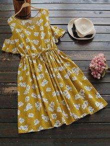 Drawstring Cold Shoulder Floral Dress - Ginger