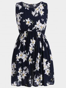 A Line Sleeveless Floral Plus Size Dress - Deep Blue 3xl