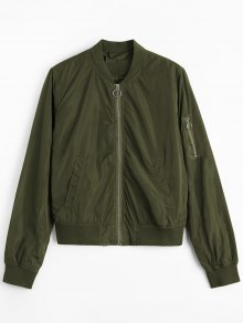 Zipper Plain Bomber Jacket - Army Green S