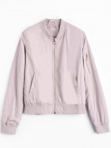 Zipper Plain Bomber Jacket - Pink M