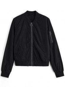 Zipper Plain Bomber Jacket - Black M