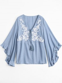 Floral Embroidered Tunic Chambray Blouse - Light Blue M