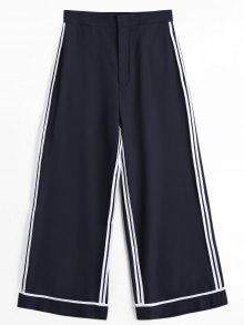 Casual Striped Gaucho Pants - Black M