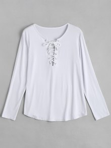 Lace Up Long Sleeve Plunge Tee - White M
