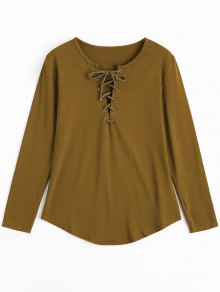 Lace Up Long Sleeve Plunge Tee - Earthy S