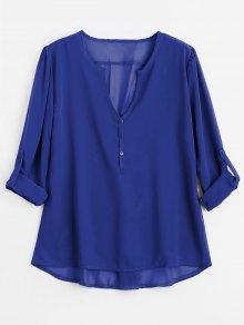 V Neck Button Embellished Blouse - Blue S