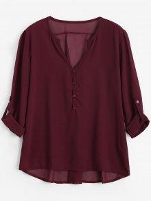 V Neck Button Embellished Blouse - Wine Red 2xl
