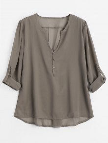 V Neck Button Embellished Blouse - Light Coffee Xl