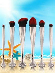 6Pcs Plating Shell Handle Facial Makeup Brushes - Black Red