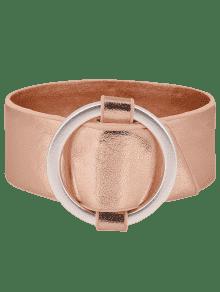 Artificial Leather Metal Circle Bracelet - Rose Gold
