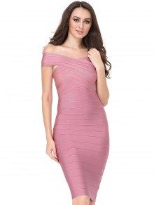 Off The Shoulder Fitted Bandage Dress - Pink L