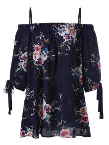 Plus Size Floral Off The Shoulder Blouse - Purplish Blue 5xl