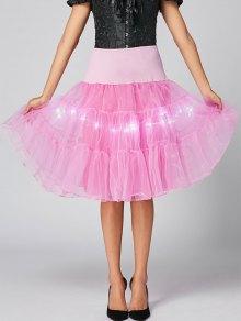Flounce Light Up Cosplay Skirt - Light Pink M