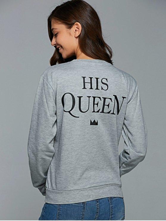 unique Letter Pattern Round Collar Sweatshirt - GRAY S