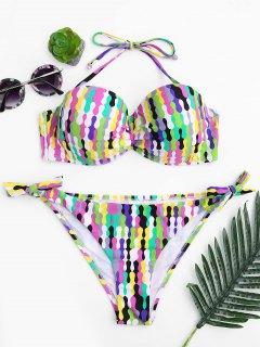 Self Tie Fuller Bust Underwire Bikini Set - Multicolor S