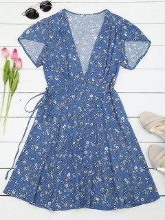 Tiny Floral Mini Wrap Beach Dress - Floral L