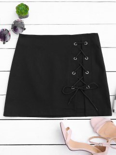 High Waisted Lace Up Bodycon Skirt - Black M