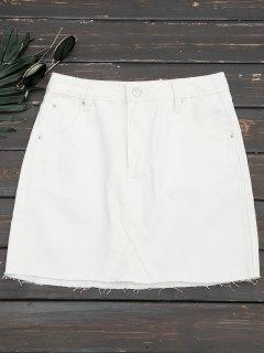 Cutoffs Denim Mini Skirt - White M
