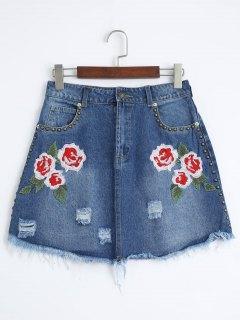 Floral Embroidered Cutoffs Ripped Denim Skirt - Denim Blue S