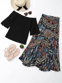 Off Shoulder Top And Printed Skirt Set - Black M