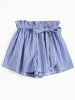 Belted Smocked Striped High Waisted Shorts - Stripe