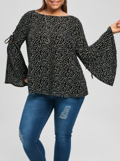 Plus Size Lace Up Flare Sleeve Blouse - Black 5xl