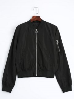 Zip Up Fall Bomber Jacket - Noir S