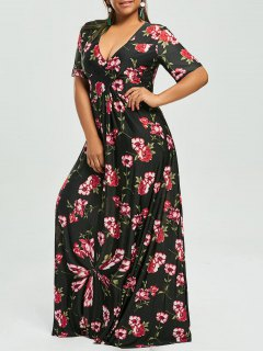 Plus Size Floral V Neck Maxi Bohemian Dress - Black 6xl