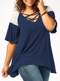 Plus Size Criss Cross Drop Shoulder Tunic T-Shirt - Cerulean 4xl