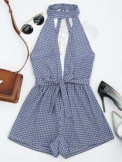 Cut Out Backless Tassels Checked Romper - Blue S