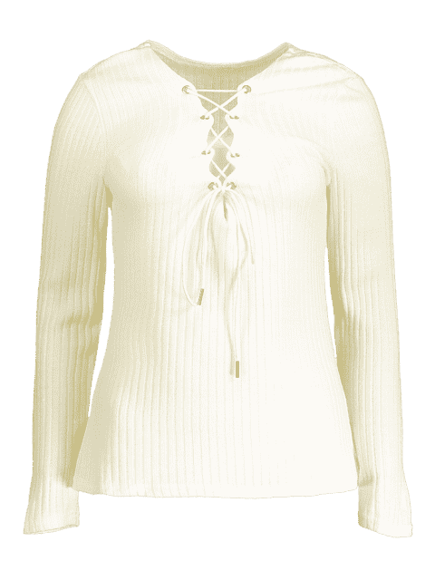 best Ribbed Knit Lace Up Jumper - WHITE M Mobile