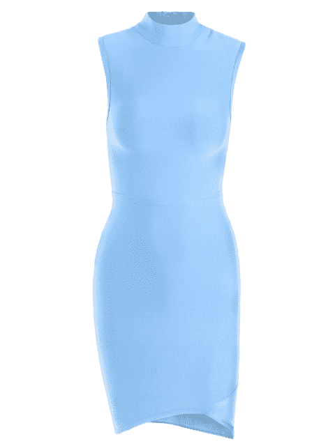 trendy Sleeveless High Neck Bodycon Dress - SKY BLUE L Mobile